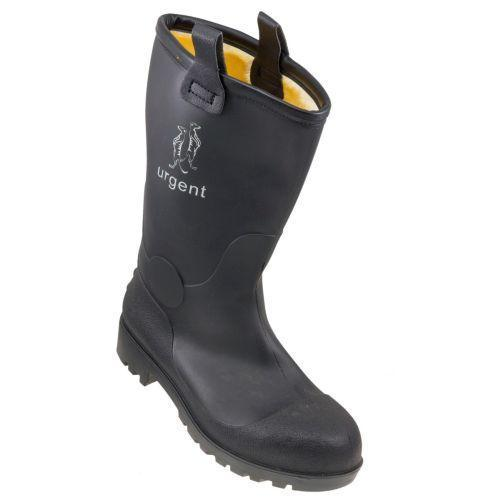 Зимняя обувь ПВХ 401 утепленная, антискользящая подошва, черного цвета.  Urgent (POLAND)