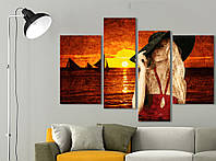 Модульная картина Vip Collection 120х80 см Девушка в шляпе