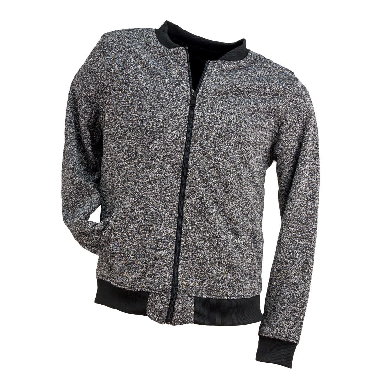 Блуза BLUZA URG-725 BLACK на молнии,выполнена из полиэстера, черно серого цвета.  Urgent (POLAND)
