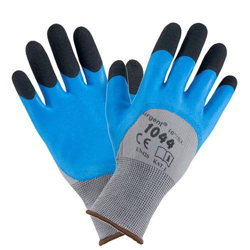 Рабочие перчатки 1044 покрыты акрилом со вспененным латексом, черно-серо-голубого цвета. Urgent (POLAND)