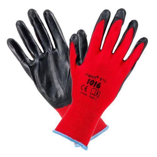 Рабочие перчатки 1016 покрытые нитрилом, черно-красного цвета. Urgent (POLAND)
