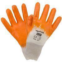 Рабочие перчатки 1006-1 покрытые нитрилом, бело-оранжевого цвета. Urgent (POLAND)