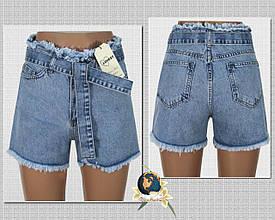 Шорты женские джинсовые короткие c бахромой и джинсовым поясом