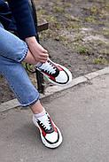 Женские кроссовки Destra красно-белые с натуральной кожи, фото 9