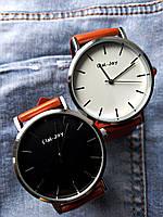 Женские и Мужские часы Wal-Joy кожаный ремешок (Коричневый ремешок белый циферблат)