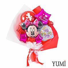 Букет из мини-фигур: голова Минни, кекс с вишенкой Happy birthday  и красные и фуксия мини сердца и звезды