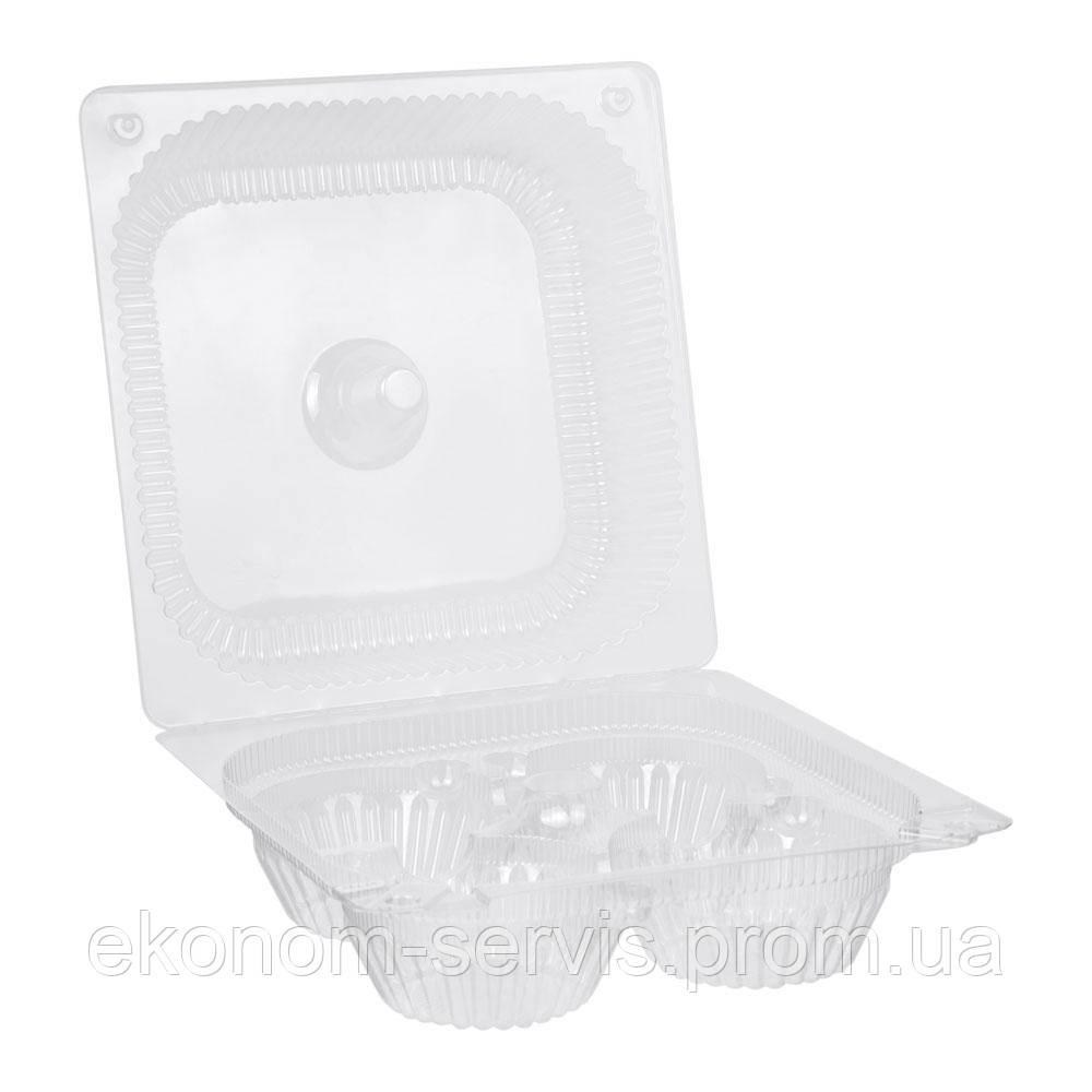 Контейнер (для кексов и пироженных) пластиковый ПС-540, 21*21*10 см.