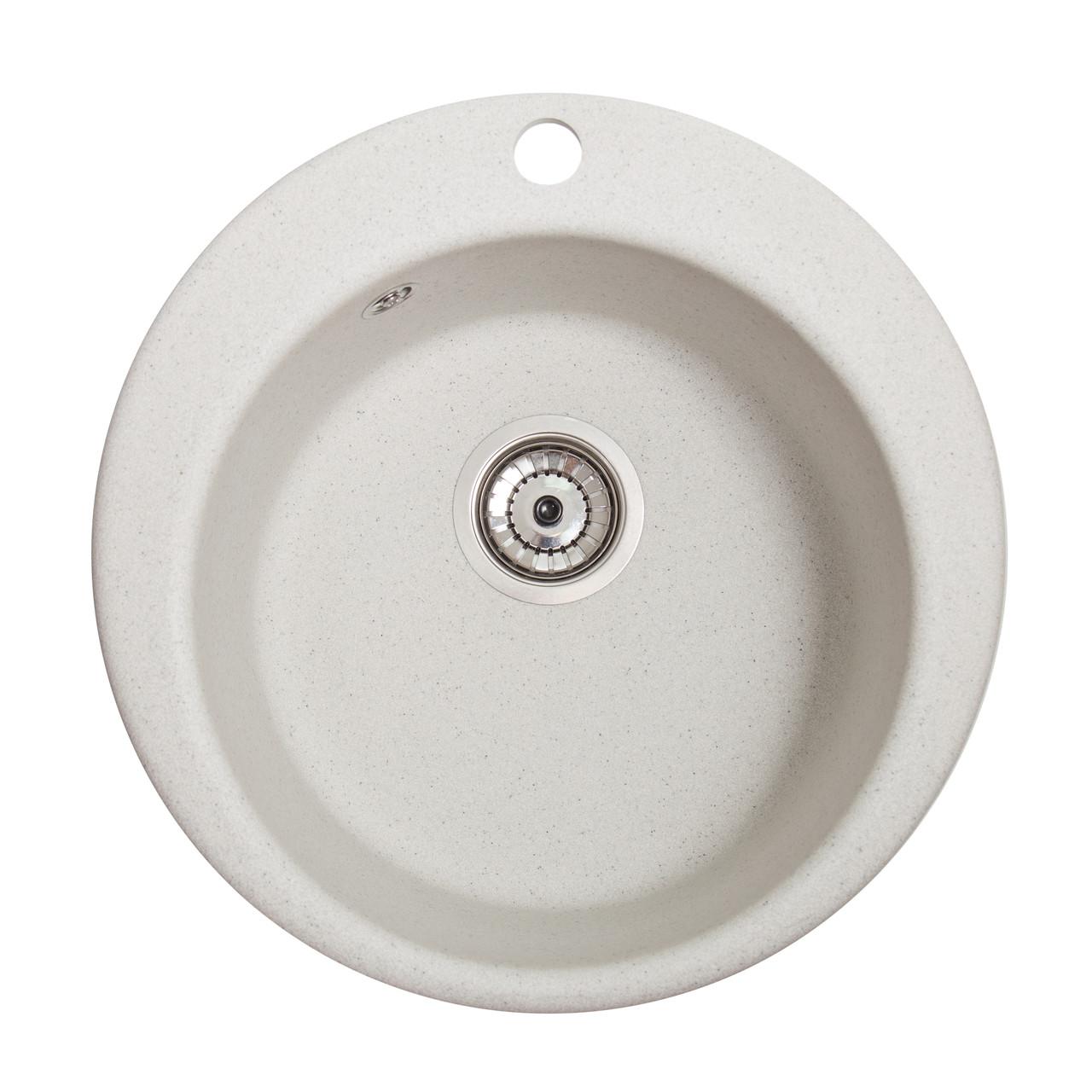 Гранитная мойка Galaţi Eva Biela (101) 47 см белая круглая