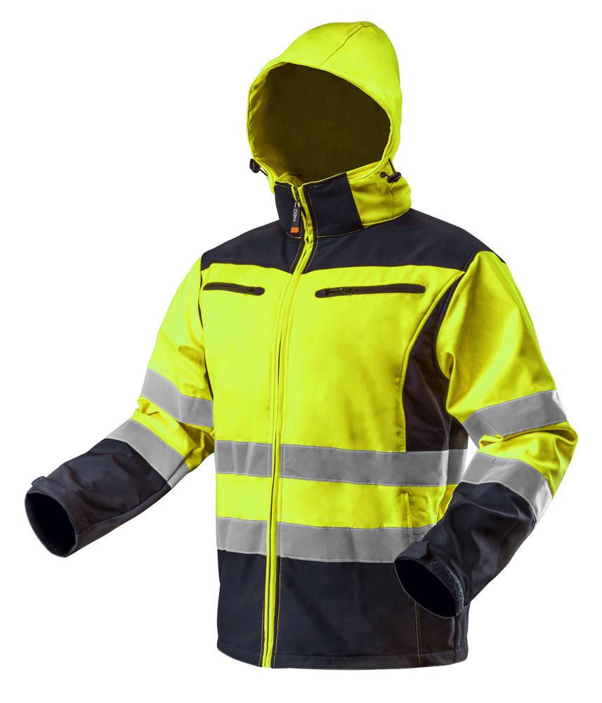 Куртка рабочая 81700 сигнальная softshell с капюшоном, желтого цвета NEO TOOLS L