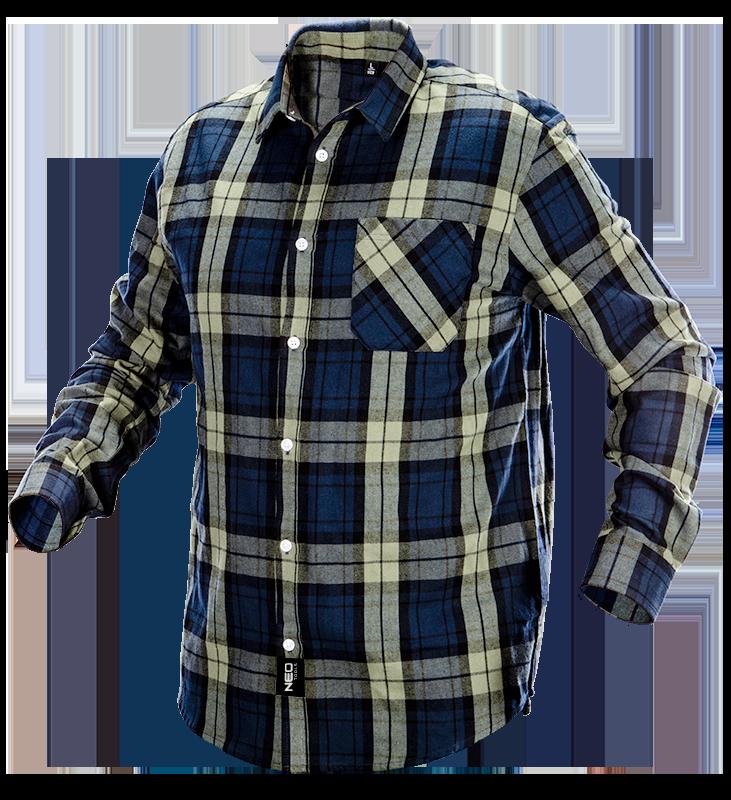 Фланелевая рубашка 81541, оливково- синяя клетка, 100% хлопок NEO TOOLS XXL