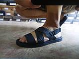 Стильные чёрные кожаные сандалии с теснением Rondo, фото 4