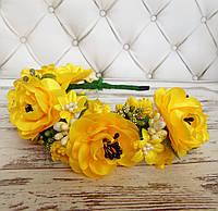 Ободок Атласна квітка (жовтий)