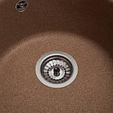 Гранитная мойка Galaţi Eva Teracotă (701) 47 см круглая коричневая, фото 6