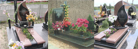 Комбинированные памятники с открытым цветником