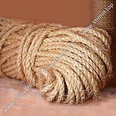 Канат сизалевый 6 мм х 50 м   Веревка сизалевая для когтеточки ➤ дряпки ➤ котов   Мотузка сизальова Україна