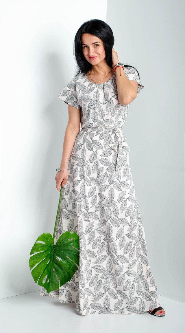 Платье женское в пол рукав в форме воланчик
