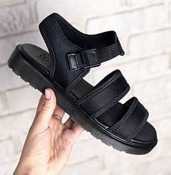 Женские сандалии босоножки Dr Martens Sandals Full Black черные. Живое фото. Топ качество. (Реплика ААА+)
