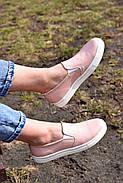 Женские кеды Destra слипоны пудра с натуральной кожи, фото 2