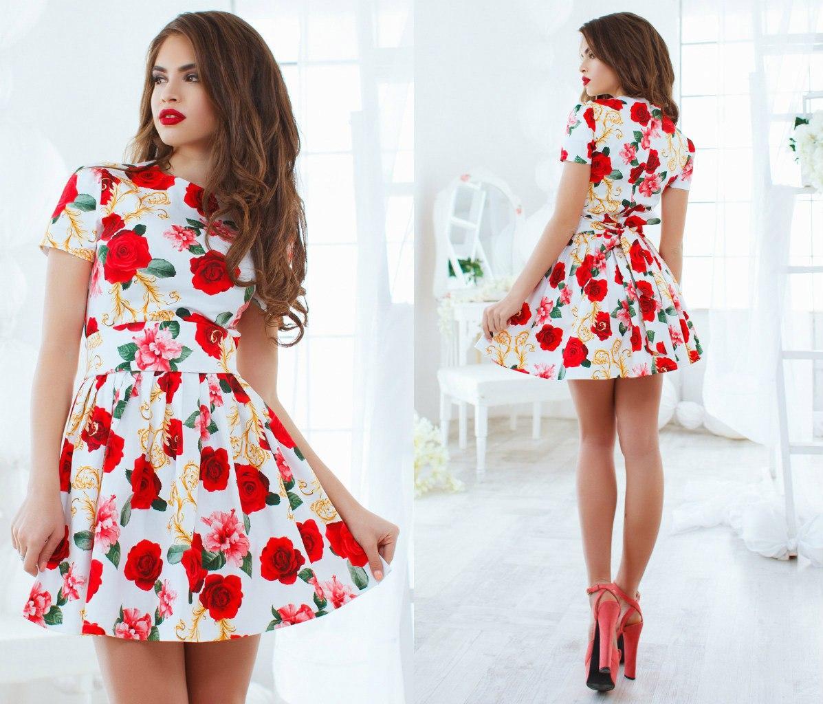Платье женское летнее с поясом короткое цветочный принт