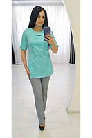 Медицинский хирургический костюм 22112 (х/б, яблоко, серый, р.42-60) Хелслайф