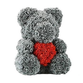Мишко з 3D троянд висотою 40см Сірий
