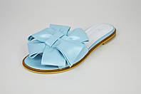 Шльопанці блакитні з бантом шкіряні Marsel 3111