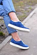 Женские кеды Destra синие с натуральной кожи, фото 2