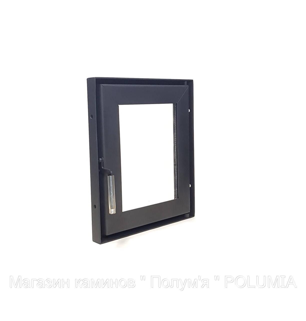 Дверца для камина Ognevoda 320×380 мм, стекло внутреннее, ручка Lite