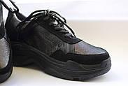 Женские кроссовки Destra с черной натуральной кожи\замши, фото 4