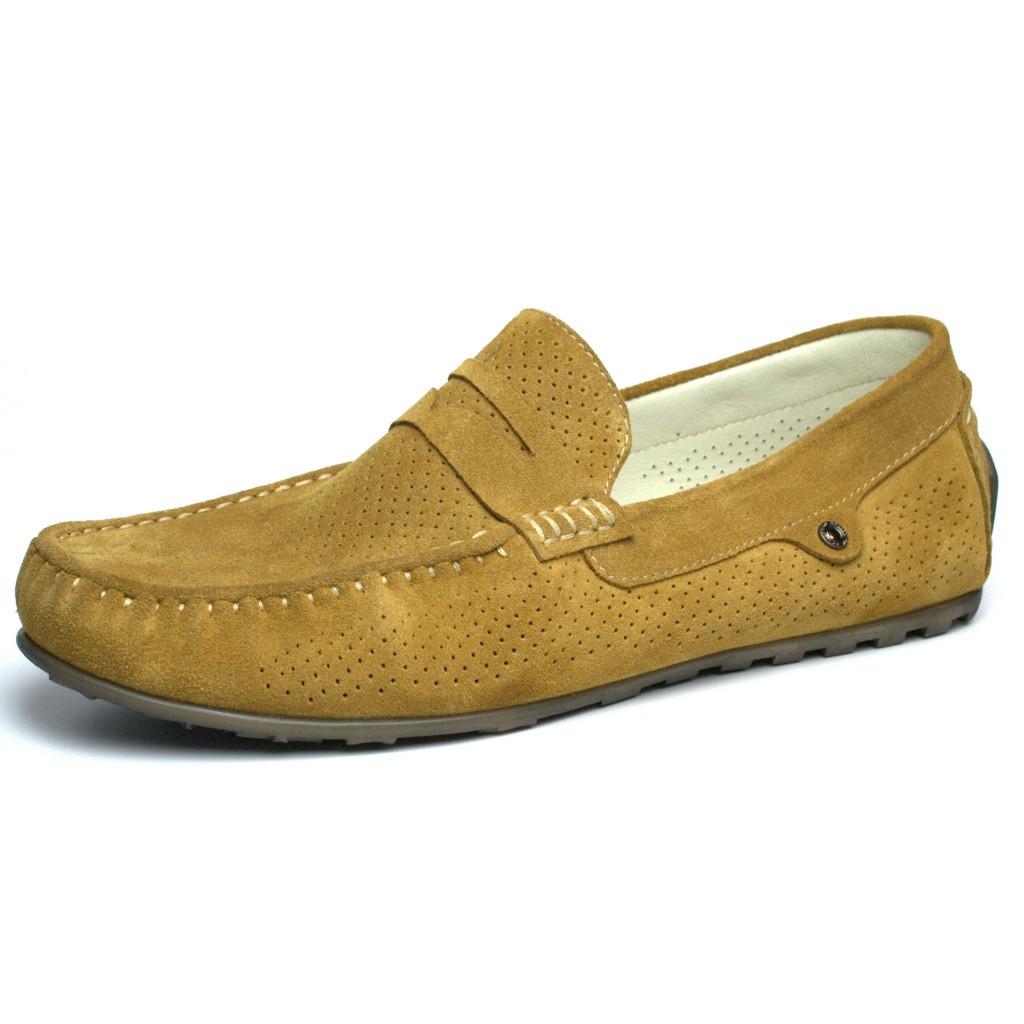 Стильные мокасины замшевые оливковые перфорация обувь мужская летняя Rosso Avangard ETHEREAL Classic Saffron