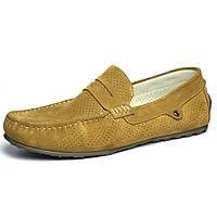 Стильные мокасины замшевые оливковые перфорация обувь мужская летняя Rosso Avangard ETHEREAL Classic Saffron, фото 1