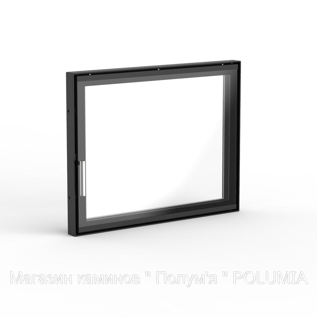 "Дверца для камина Ognevoda 600×470 мм, стекло ""плазма""(нар), ручка Nero"