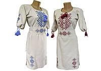 Модне вишите жіноче плаття із льону середньої довжини «Святкова»