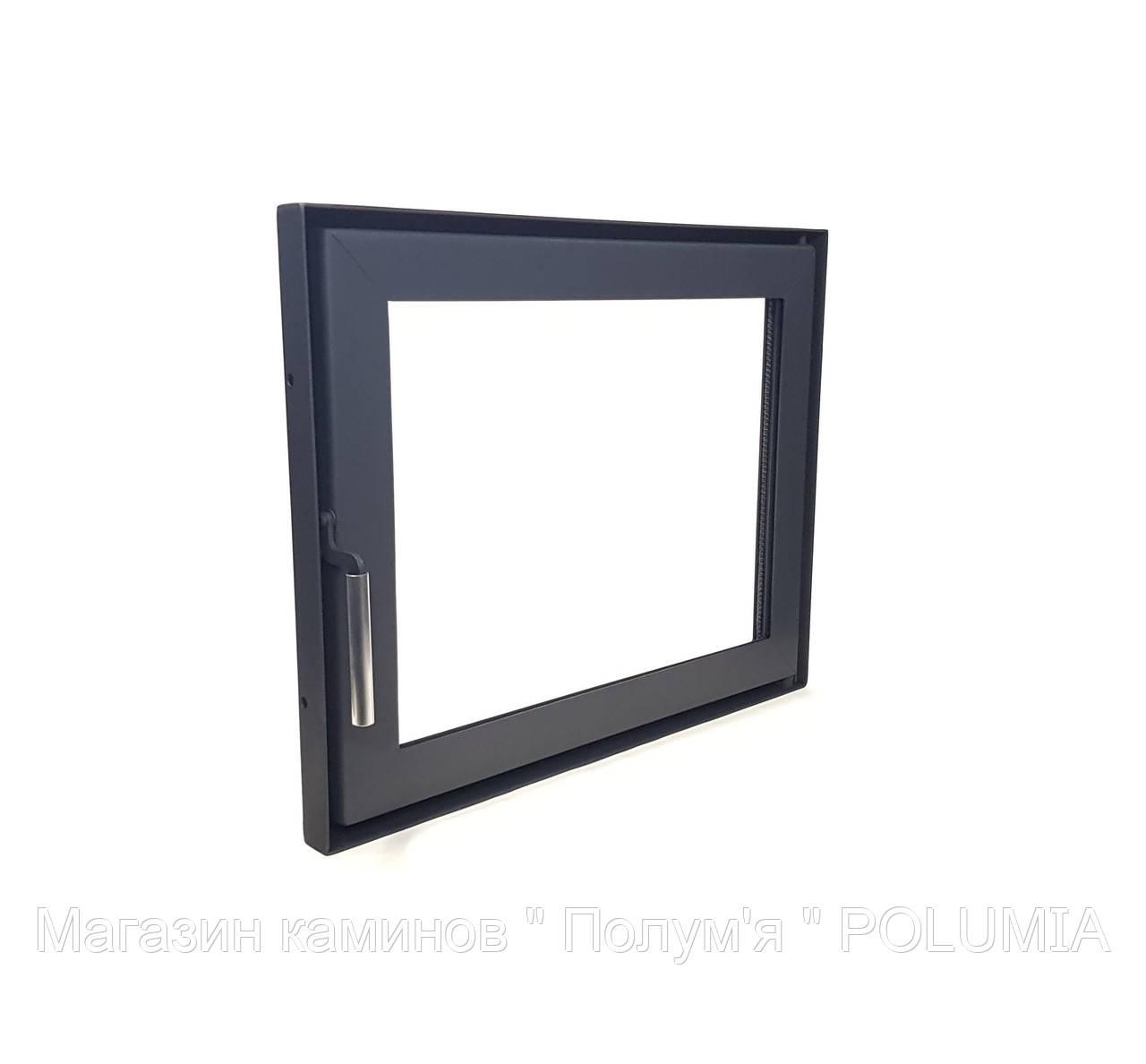 Дверца для камина Ognevoda 600х470 мм, стекло внутреннее, ручка Lite