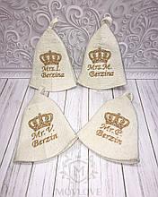 Банная шапка с вышивкой именной