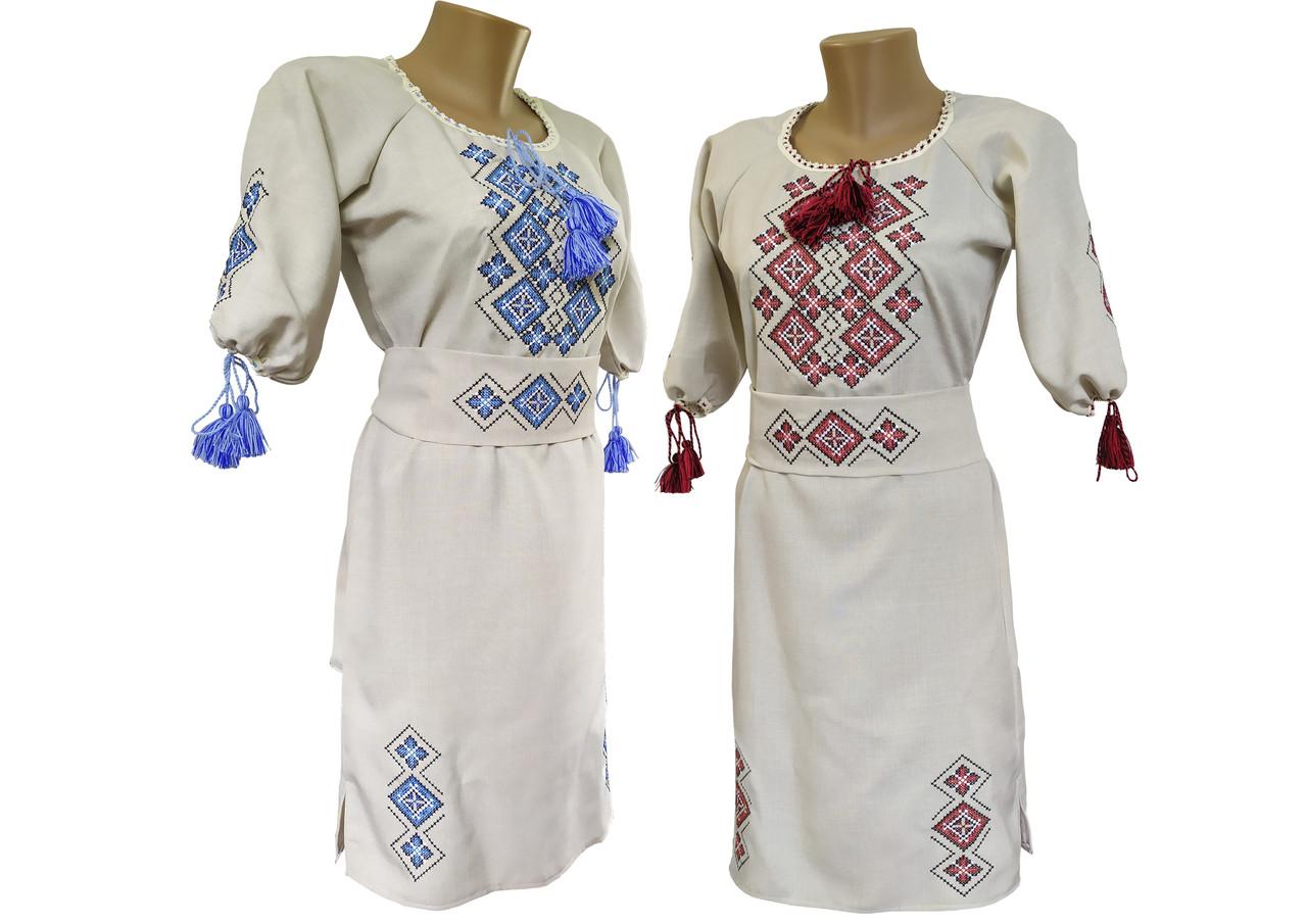 Коротка вишита сукня із льону з вишивкою на грудях в етно стилі