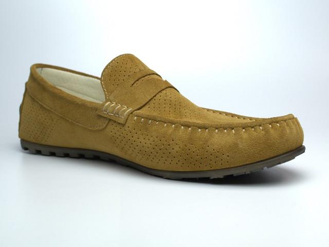 Летние мокасины замшевые оливковые с перфорацией мужская обувь Rosso Avangard ETHEREAL Classic Saffron