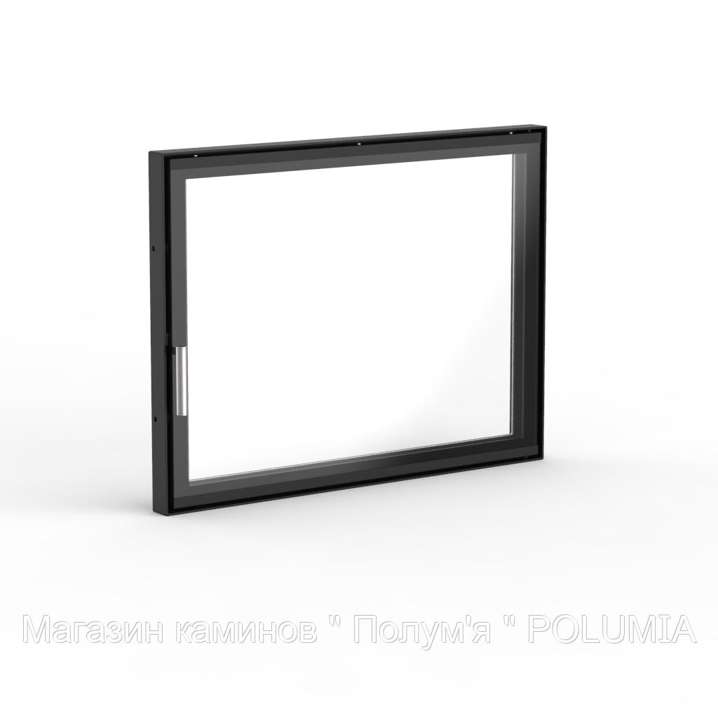 "Дверца для камина Ognevoda 700×530 мм, стекло ""плазма""(нар), ручка Nero"
