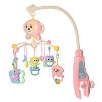 Карусель на кроватку, муз, подвески, на бат-ке, в кор-ке, 55-35,5-8 см., розовая (668-25(Pink))