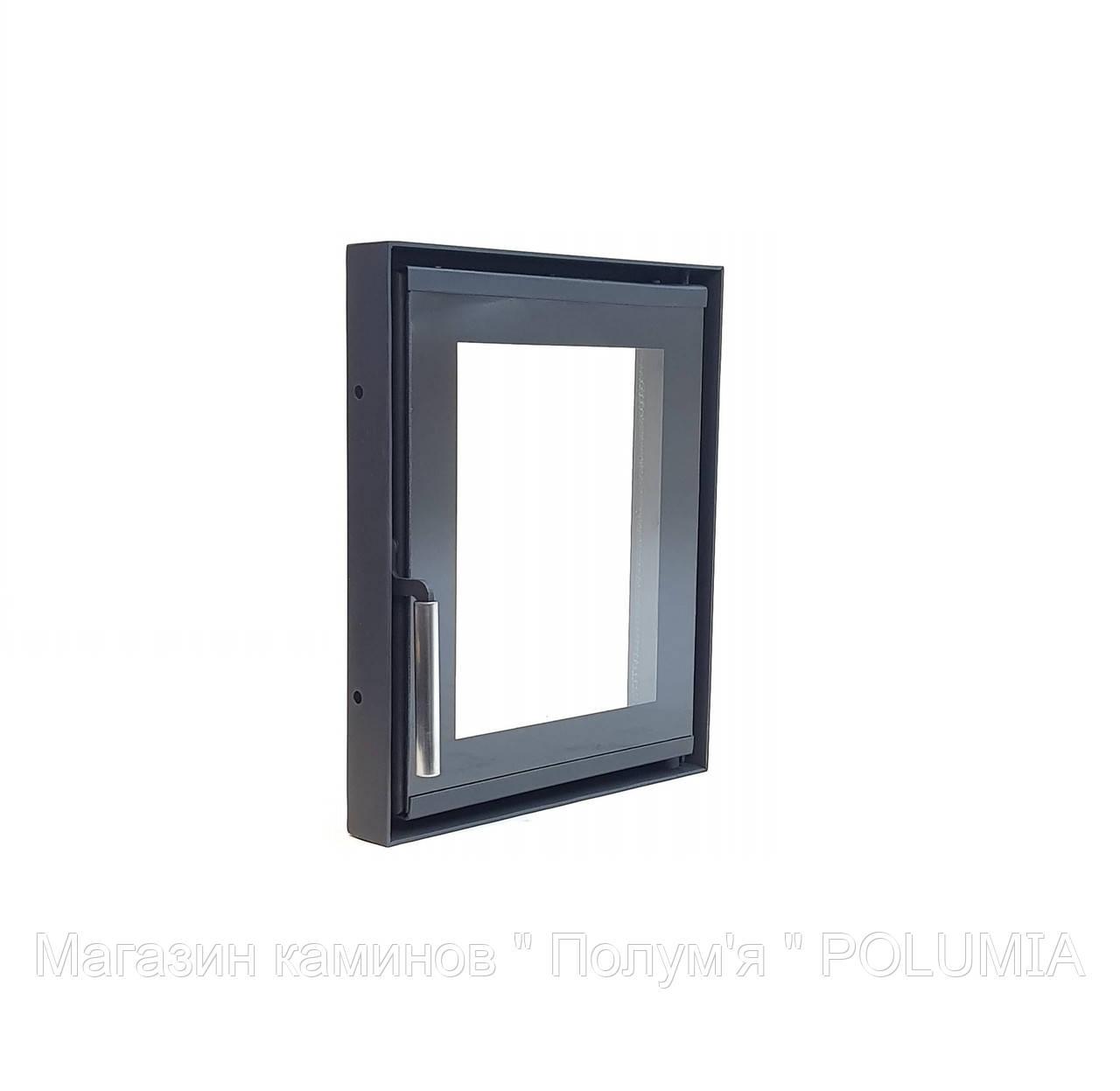 """Дверца для камина Ognevoda 300×350 мм, стекло """"плазма""""(нар), ручка Lite"""