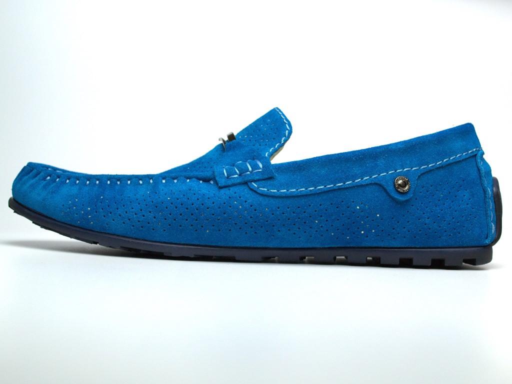 Мокасины бирюзовые мужские замшевые с перфорацией летняя обувь Rosso Avangard ETHEREAL Cross Tru Summer