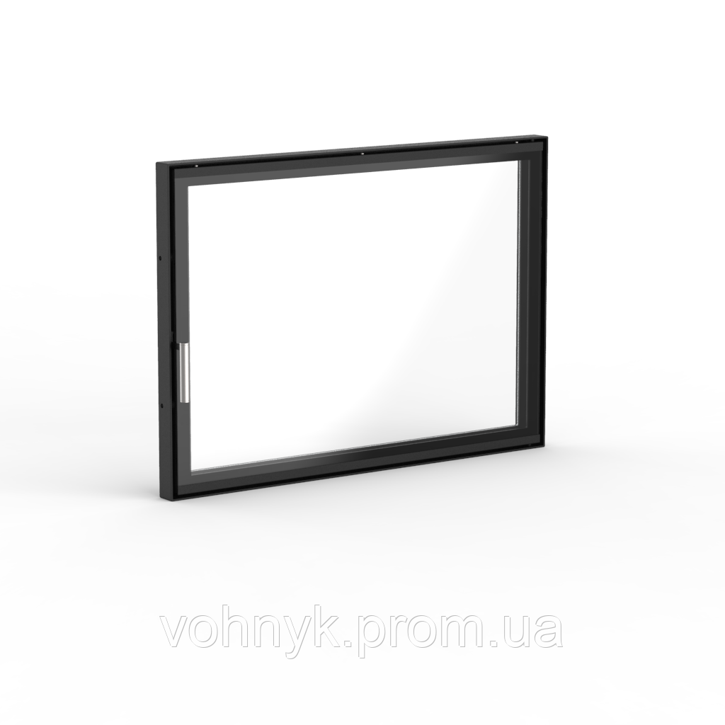 "Дверца для камина Ognevoda 800×570 мм, стекло ""плазма""(нар), ручка Nero"