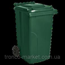 Контейнер для мусора на колесах 120л, пластик,Украина, синий, коричневый, оранжевый, фото 3