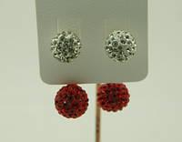 Пусеты из двух цветных шариков оптом от бижутерии РРР. 129