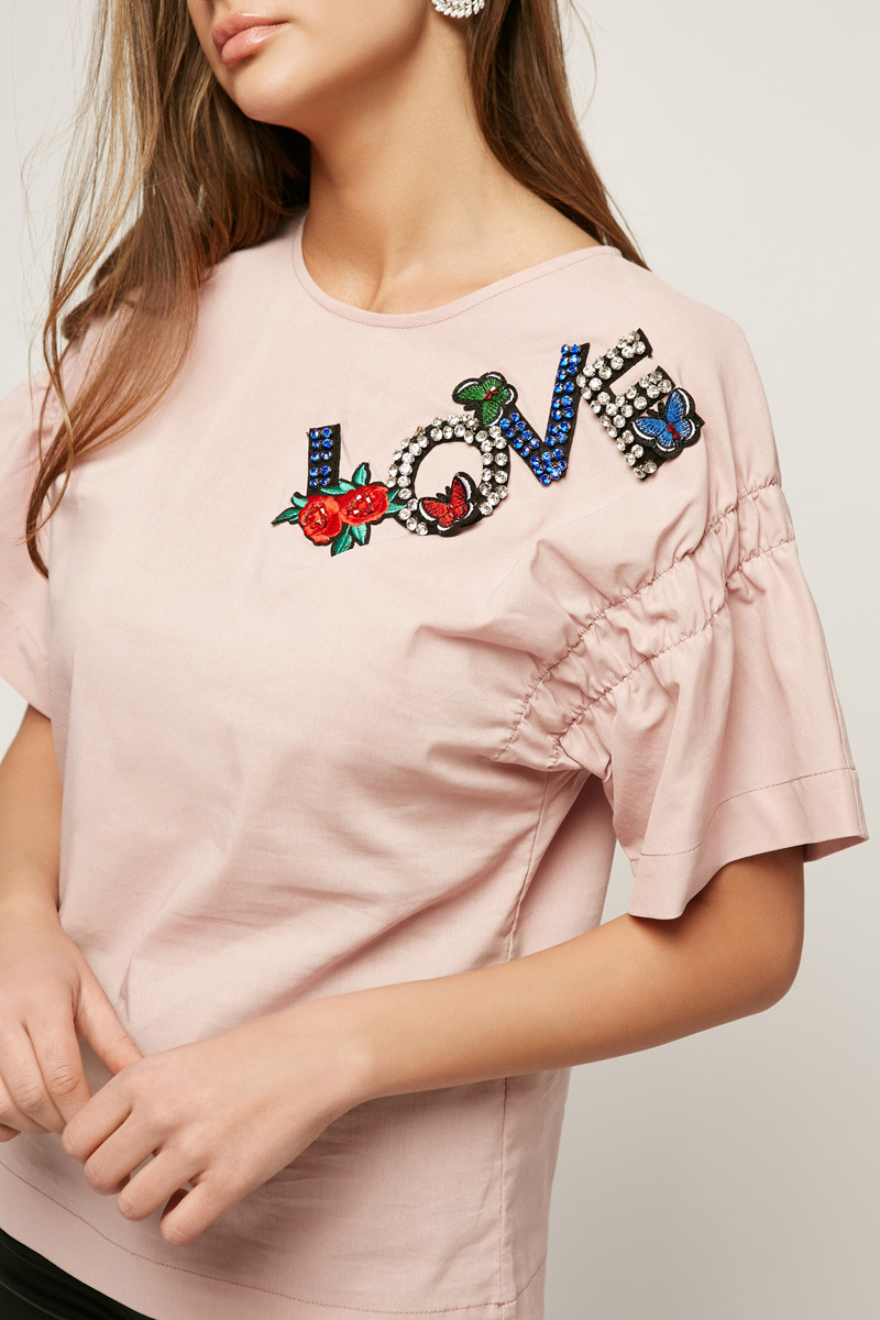 2159 блуза Love, пудра (40-42)