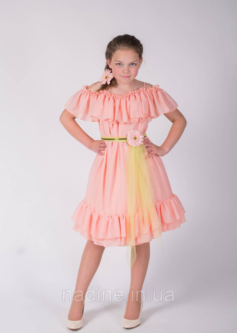 Шифоновое платье Nadine, Charming Gerbera рост 152 цвет персиковый
