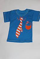 Детская синяя футболка с Галстуком Размер 92 см, 98 см, 104 см, 110 см