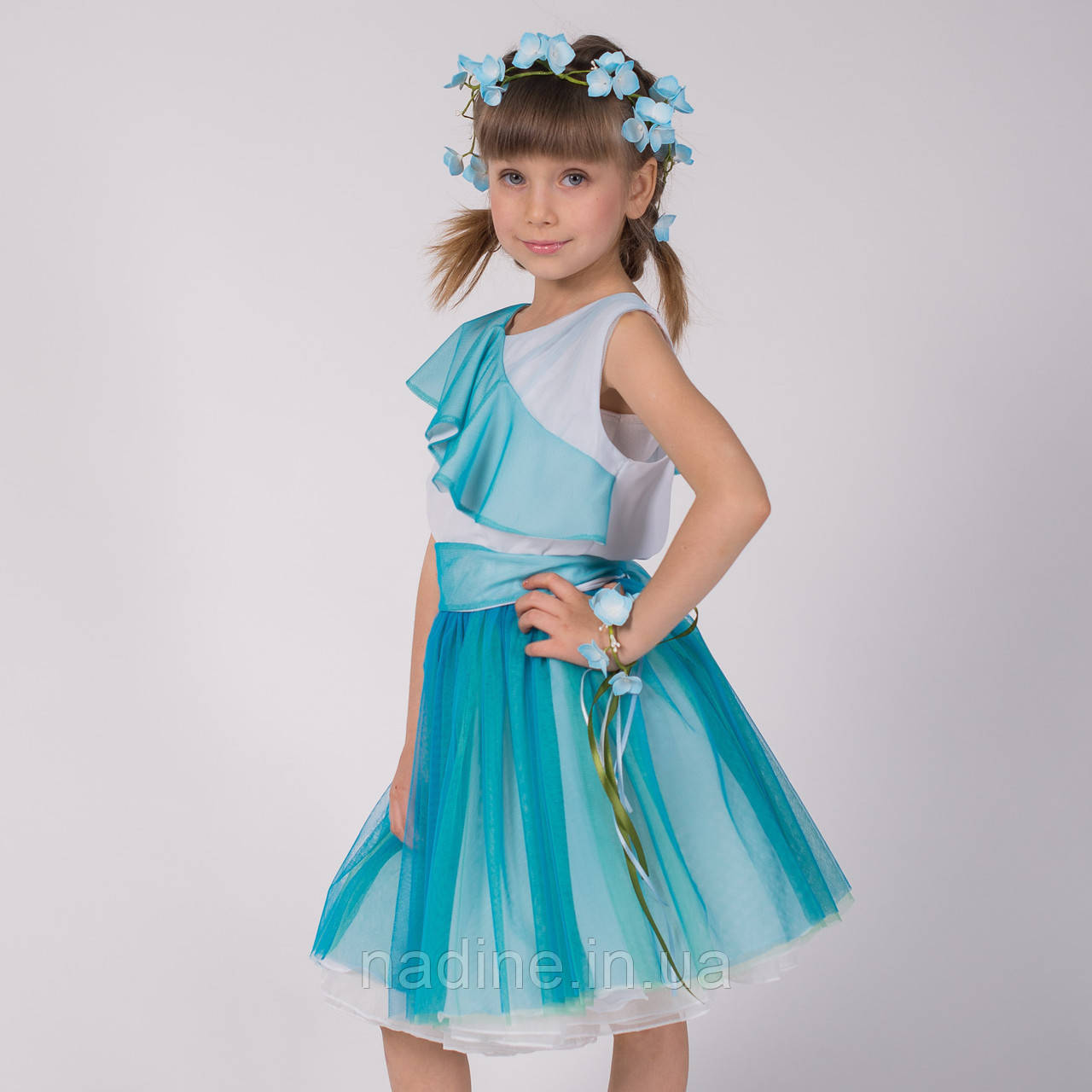 Шифоновое платье Nadine на девочку, Tender Hydrangea рост 134