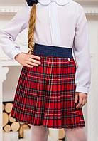 """Плиссированная юбка на девочку,на декорированной резинке с золотым украшением """"Ю129/1"""" 122,146,152р"""
