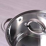 Кастрюля Kamille 3.8л из нержавеющей стали с крышкой и полыми ручками, фото 4